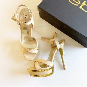 Bebe Adisonn Nude Platform Sandals Size 9